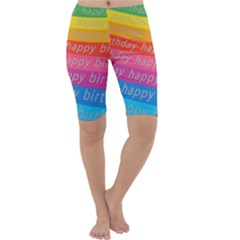 Colorful Happy Birthday Wallpaper Cropped Leggings