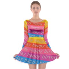 Colorful Happy Birthday Wallpaper Long Sleeve Skater Dress