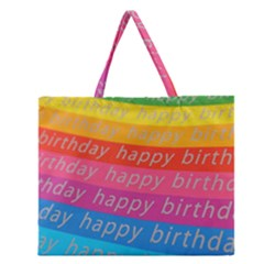 Colorful Happy Birthday Wallpaper Zipper Large Tote Bag
