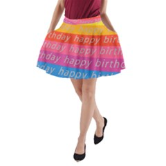 Colorful Happy Birthday Wallpaper A Line Pocket Skirt