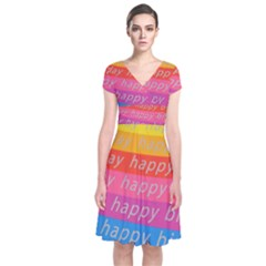 Colorful Happy Birthday Wallpaper Short Sleeve Front Wrap Dress