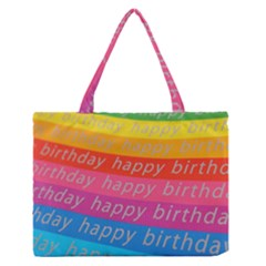 Colorful Happy Birthday Wallpaper Medium Zipper Tote Bag