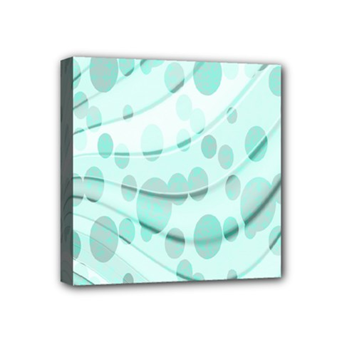 Abstract Background Teal Bubbles Abstract Background Of Waves Curves And Bubbles In Teal Green Mini Canvas 4  X 4