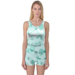Abstract Background Teal Bubbles Abstract Background Of Waves Curves And Bubbles In Teal Green One Piece Boyleg Swimsuit