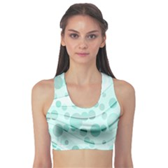 Abstract Background Teal Bubbles Abstract Background Of Waves Curves And Bubbles In Teal Green Sports Bra