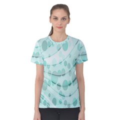 Abstract Background Teal Bubbles Abstract Background Of Waves Curves And Bubbles In Teal Green Women s Cotton Tee