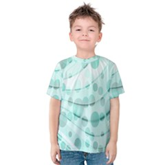 Abstract Background Teal Bubbles Abstract Background Of Waves Curves And Bubbles In Teal Green Kids  Cotton Tee
