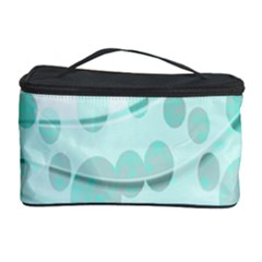 Abstract Background Teal Bubbles Abstract Background Of Waves Curves And Bubbles In Teal Green Cosmetic Storage Case