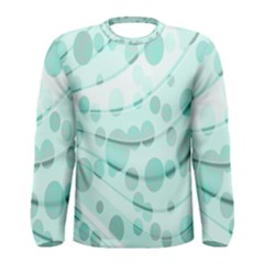Abstract Background Teal Bubbles Abstract Background Of Waves Curves And Bubbles In Teal Green Men s Long Sleeve Tee