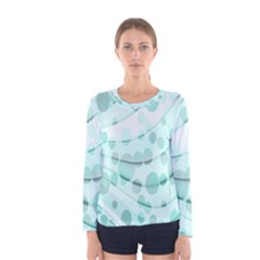 Abstract Background Teal Bubbles Abstract Background Of Waves Curves And Bubbles In Teal Green Women s Long Sleeve Tee