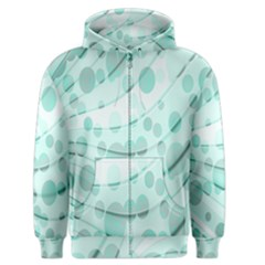 Abstract Background Teal Bubbles Abstract Background Of Waves Curves And Bubbles In Teal Green Men s Zipper Hoodie