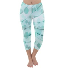 Abstract Background Teal Bubbles Abstract Background Of Waves Curves And Bubbles In Teal Green Capri Winter Leggings