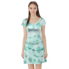 Abstract Background Teal Bubbles Abstract Background Of Waves Curves And Bubbles In Teal Green Short Sleeve Skater Dress