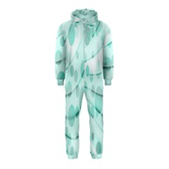 Abstract Background Teal Bubbles Abstract Background Of Waves Curves And Bubbles In Teal Green Hooded Jumpsuit (kids)