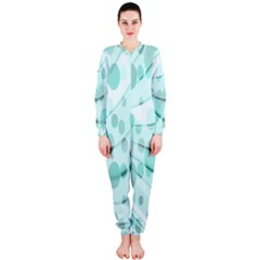Abstract Background Teal Bubbles Abstract Background Of Waves Curves And Bubbles In Teal Green Onepiece Jumpsuit (ladies)