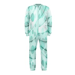 Abstract Background Teal Bubbles Abstract Background Of Waves Curves And Bubbles In Teal Green Onepiece Jumpsuit (kids)