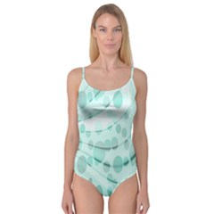 Abstract Background Teal Bubbles Abstract Background Of Waves Curves And Bubbles In Teal Green Camisole Leotard