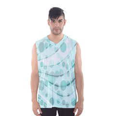 Abstract Background Teal Bubbles Abstract Background Of Waves Curves And Bubbles In Teal Green Men s Basketball Tank Top