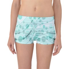 Abstract Background Teal Bubbles Abstract Background Of Waves Curves And Bubbles In Teal Green Boyleg Bikini Bottoms