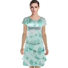Abstract Background Teal Bubbles Abstract Background Of Waves Curves And Bubbles In Teal Green Cap Sleeve Nightdress