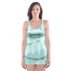 Abstract Background Teal Bubbles Abstract Background Of Waves Curves And Bubbles In Teal Green Skater Dress Swimsuit