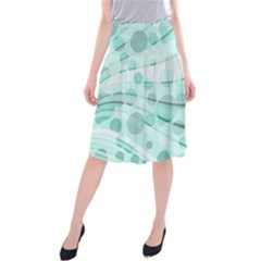 Abstract Background Teal Bubbles Abstract Background Of Waves Curves And Bubbles In Teal Green Midi Beach Skirt