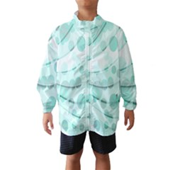Abstract Background Teal Bubbles Abstract Background Of Waves Curves And Bubbles In Teal Green Wind Breaker (kids)