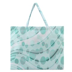 Abstract Background Teal Bubbles Abstract Background Of Waves Curves And Bubbles In Teal Green Zipper Large Tote Bag