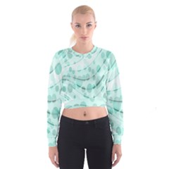 Abstract Background Teal Bubbles Abstract Background Of Waves Curves And Bubbles In Teal Green Women s Cropped Sweatshirt
