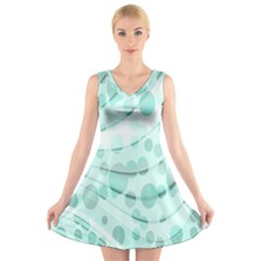 Abstract Background Teal Bubbles Abstract Background Of Waves Curves And Bubbles In Teal Green V Neck Sleeveless Skater Dress