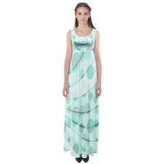Abstract Background Teal Bubbles Abstract Background Of Waves Curves And Bubbles In Teal Green Empire Waist Maxi Dress