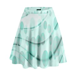 Abstract Background Teal Bubbles Abstract Background Of Waves Curves And Bubbles In Teal Green High Waist Skirt