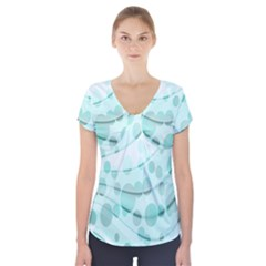 Abstract Background Teal Bubbles Abstract Background Of Waves Curves And Bubbles In Teal Green Short Sleeve Front Detail Top
