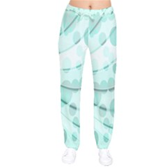 Abstract Background Teal Bubbles Abstract Background Of Waves Curves And Bubbles In Teal Green Drawstring Pants