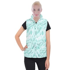 Abstract Background Teal Bubbles Abstract Background Of Waves Curves And Bubbles In Teal Green Women s Button Up Puffer Vest