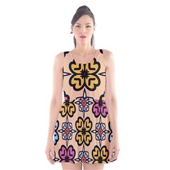 Abstract Seamless Background Pattern Scoop Neck Skater Dress