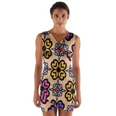 Abstract Seamless Background Pattern Wrap Front Bodycon Dress