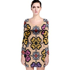 Abstract Seamless Background Pattern Long Sleeve Velvet Bodycon Dress