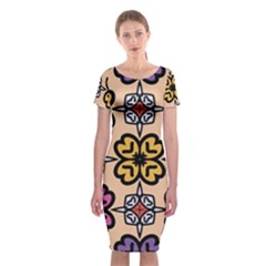Abstract Seamless Background Pattern Classic Short Sleeve Midi Dress