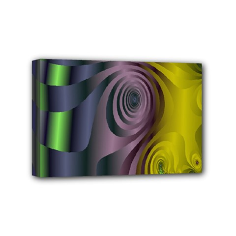 Fractal In Purple Gold And Green Mini Canvas 6  X 4