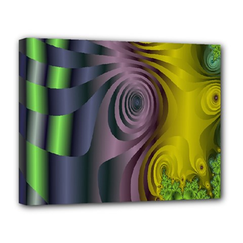 Fractal In Purple Gold And Green Canvas 14  X 11