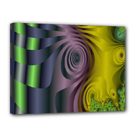 Fractal In Purple Gold And Green Canvas 16  X 12