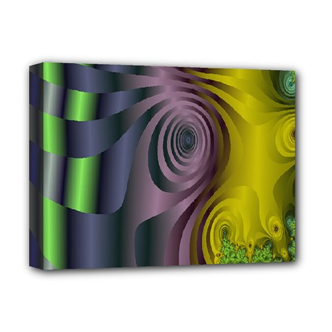 Fractal In Purple Gold And Green Deluxe Canvas 16  x 12
