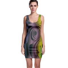 Fractal In Purple Gold And Green Sleeveless Bodycon Dress