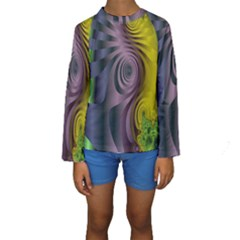 Fractal In Purple Gold And Green Kids  Long Sleeve Swimwear