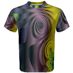 Fractal In Purple Gold And Green Men s Cotton Tee
