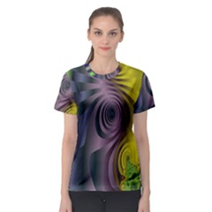 Fractal In Purple Gold And Green Women s Sport Mesh Tee