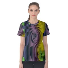 Fractal In Purple Gold And Green Women s Cotton Tee