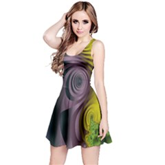 Fractal In Purple Gold And Green Reversible Sleeveless Dress