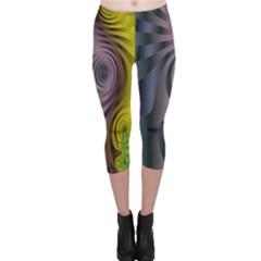 Fractal In Purple Gold And Green Capri Leggings